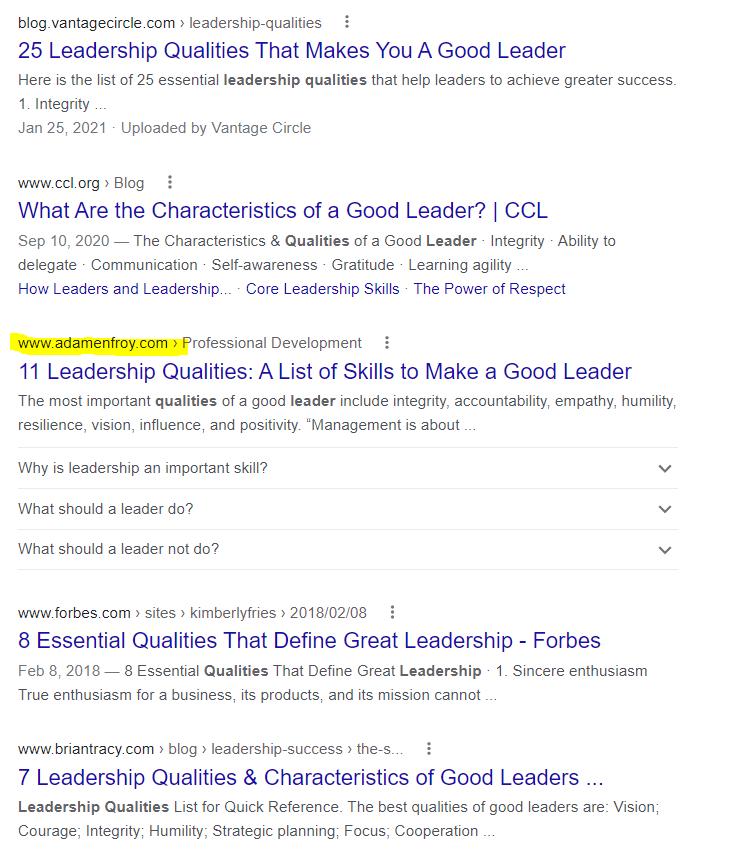 adam enfroy leadership blog post