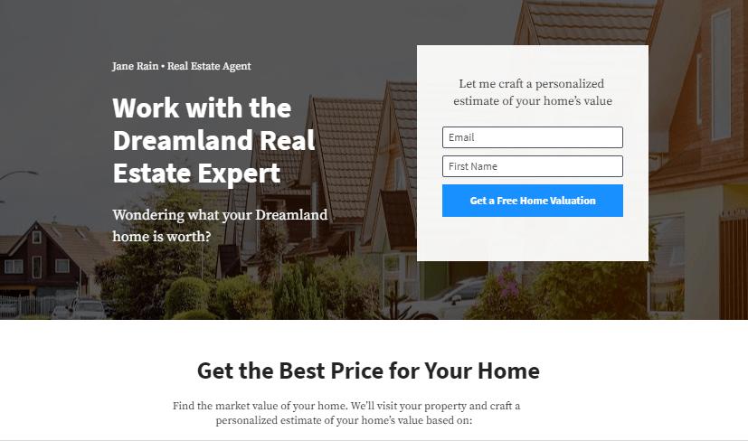 real estate website landing page