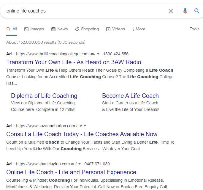 life coach google ads
