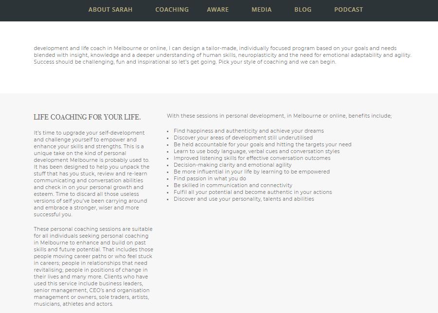 life coach website examples